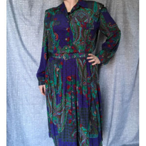 Leslie Fay Paisly floral shirt dress pleated skirt